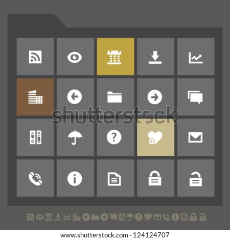 Modern office icons set 1, for mobile devices and contemporary interfaces - stock vector