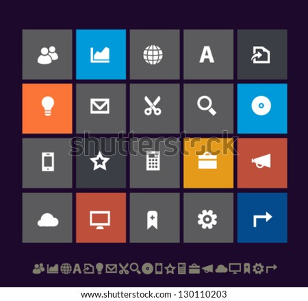 Modern office icons set 3, for mobile devices and contemporary interfaces - stock vector