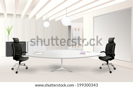 Modern office room with a table - stock vector
