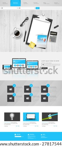 Modern One Page Website Template Can be use Responsive Website on Touchscreen Devices. With open door to Dreamland Vector illustration. - stock vector
