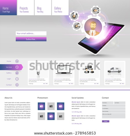 Modern One page Website template design - stock vector