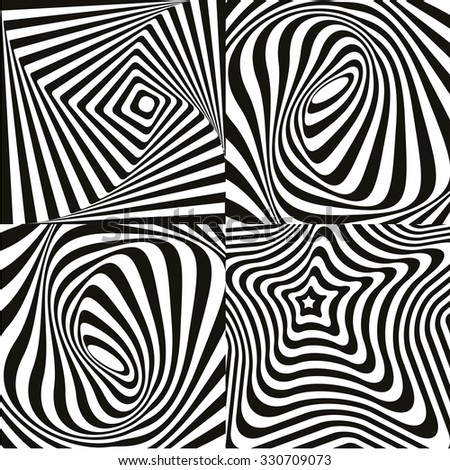 Modern optical art background texture set, different background with concentric black and white stripes. Vector Eps file - stock vector