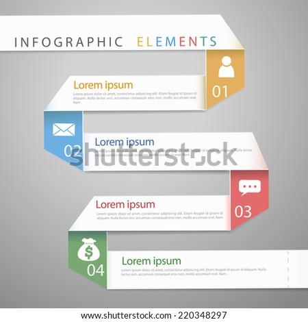 modern paper folding concept infographic elements template  - stock vector