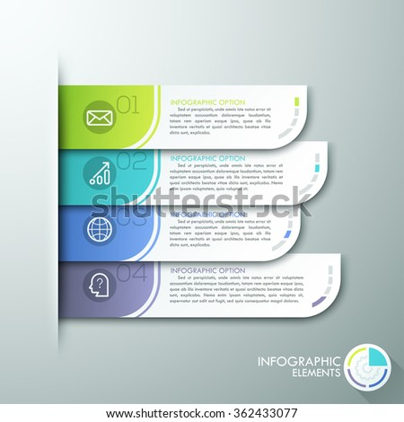 Modern paper infographics options banner. Vector illustration. can be used for workflow layout, diagram, number options, web design. - stock vector