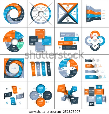 Modern paper infographics set for e-business, diagrams, charts, web sites, mobile applications, banners, corporate brochures, book covers, layouts, presentations etc. Vector eps10 illustration - stock vector
