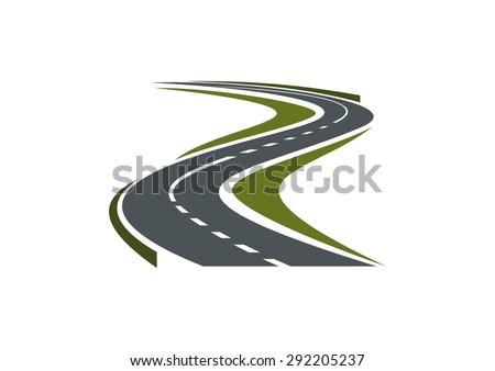 Modern paved road or highway symbol with hairpin curve disappearing into the distance for car trip or transportation design - stock vector