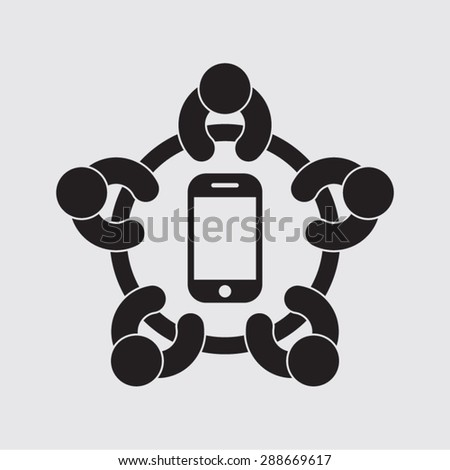 modern people, social network, meeting, technology, vector icon - stock vector