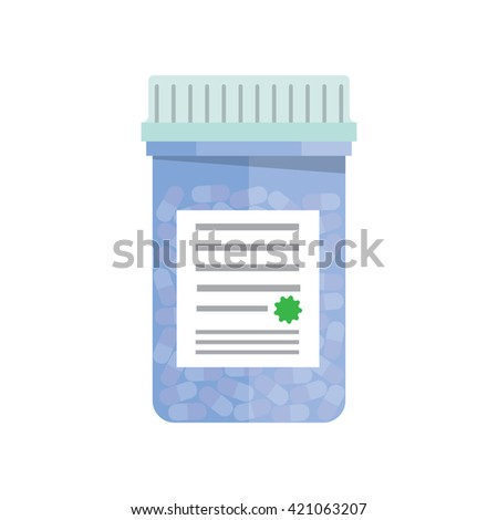 Modern pill bottle for pills or capsules. Isolated icon on white background. Flat style vector illustration. - stock vector