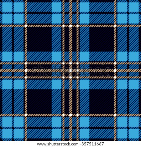 Modern plaid seamless checkered vector pattern. Retro textile collection. Blue and black. Backgrounds & textures shop. - stock vector