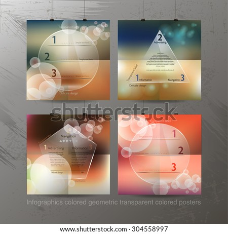 Modern pop art abstract composition of posters with clear infogr - stock vector