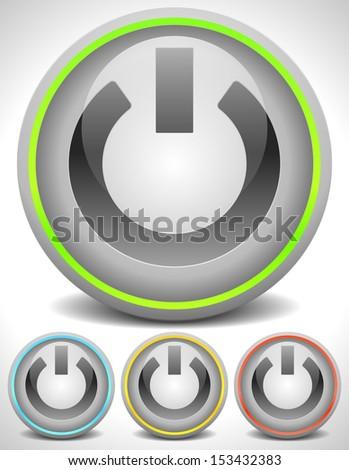 Modern Power buttons, technology - stock vector