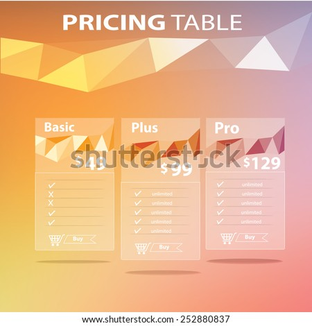 Modern pricing table - stock vector