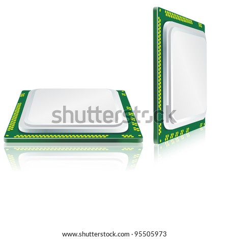 Modern processor with reflection. - stock vector
