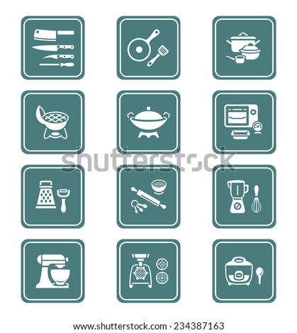 Modern professional utensils for cooking teal icon-set - stock vector