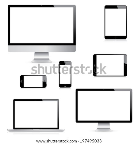 Modern realistic isolated computer, laptop, tablet and smartphone vectors set - stock vector