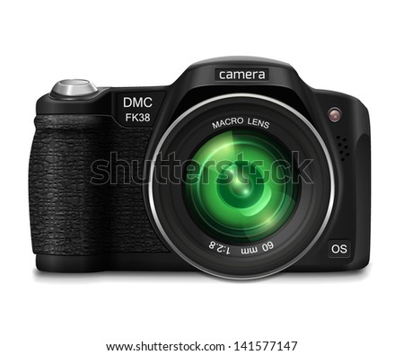 Modern realistic photo camera with green lens. Isolated on white background. Vector illustration. - stock vector