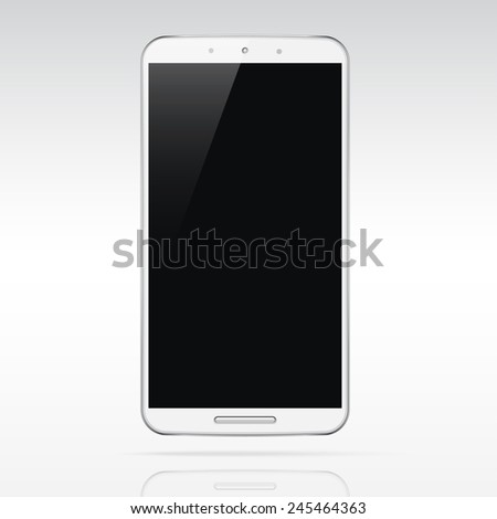Modern realistic white android touchscreen cellphone  smartphone tablet phablet isolated on light background.  Empty screen - stock vector