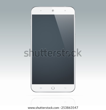 Modern realistic white android touchscreen cellphone tablet smartphone isolated on light background.  Empty screen - stock vector