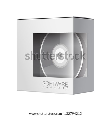 Modern Realistic white Package Cardboard Box with a transparent plastic window. Inside DVD Or CD disk. Vector illustration - stock vector