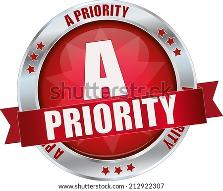 modern red a priority sign - stock vector