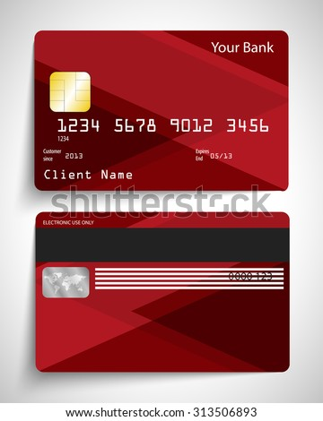 Modern red abstract realistic vector credit card. - stock vector