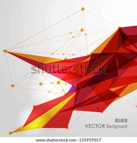 Modern red and yellow network transparent triangles abstract background illustration. EPS10 vector with transparency organized in layers for easy editing. - stock vector