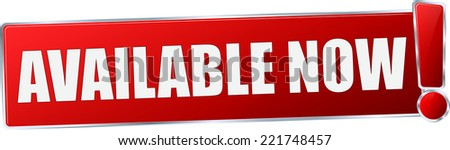 modern red 3D vector eps10 available now button sign - stock vector