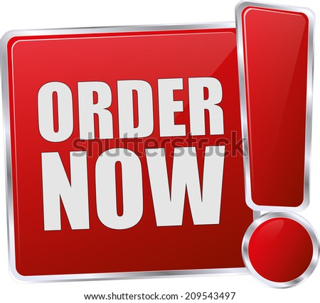 modern red order now button - stock vector