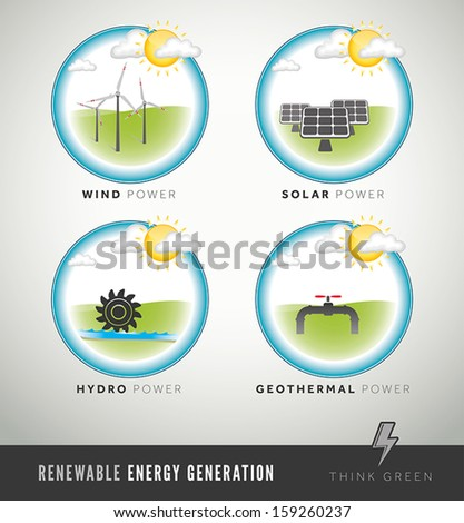 Modern renewable energy generation icons and symbols - stock vector