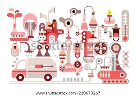 Modern Research Lab - isolated vector illustration on white background. - stock vector