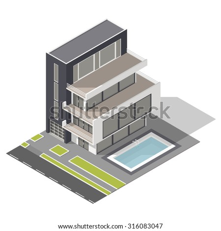 Modern residential building isometric icon set vector graphic illustration - stock vector