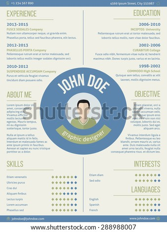 Modern resume curriculum vitae cv design with photo and name in center - stock vector