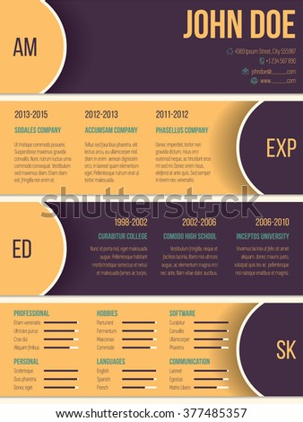 Modern resume cv curriculum vitae template with half circles and shadows - stock vector
