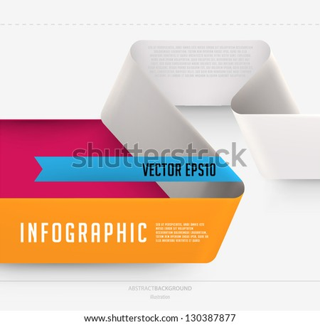 Modern ribbon infographic template for business design - stock vector