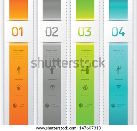 Modern ribbon tab design template / can be used for infographics / numbered banners / graphic or website layout vector. - stock vector