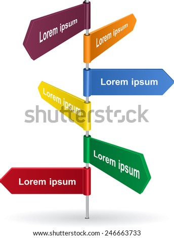 Modern road sign design template for infographics, sign banners, graphic or website layout. Vector illustration Eps8. - stock vector