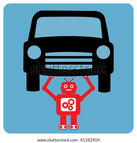 Modern robot with car - stock vector