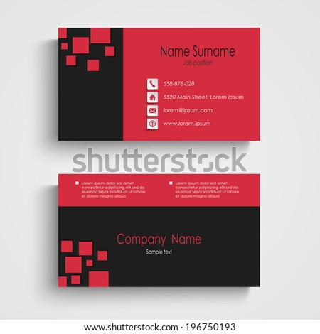 Modern sample business card template - stock vector