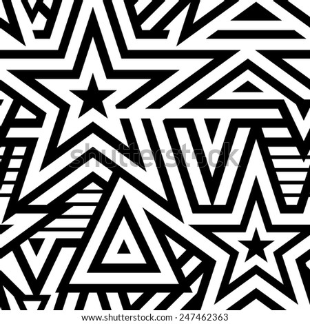 Modern Seamless Stars Background. Black and White Striped Vector Pattern. Mosaic of Linears - stock vector