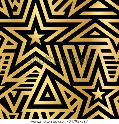 Modern Seamless Stars Background. Gold and White Striped Vector Pattern. Linear Mosaic . Metallic Flash Tattoo Item - stock vector