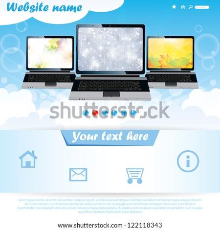 Modern seasonal background website template for laptop company - stock vector