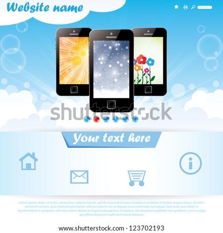Modern seasonal background website template for mobile company - stock vector