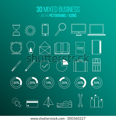 Modern set of outline, linear Social media icons on green background with gradient. - stock vector