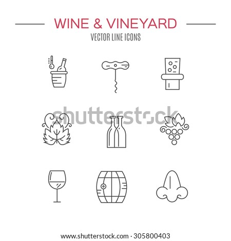 Modern set of vector line icons with different wine and winery elements. Vector line icons.