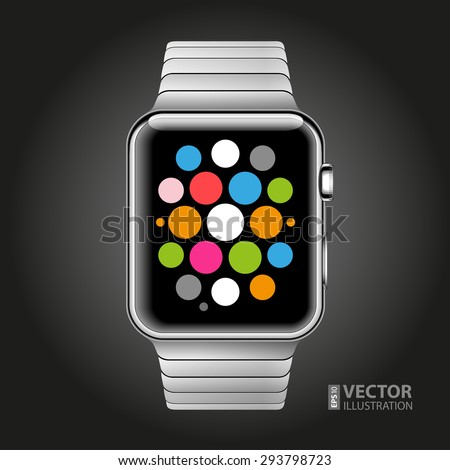 Modern shiny smart watch with steel bracelet applications icons on screen isolated on black background. RGB EPS 10 vector illustration - stock vector