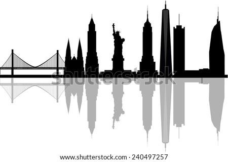Modern silhouette skyline of New York. - stock vector