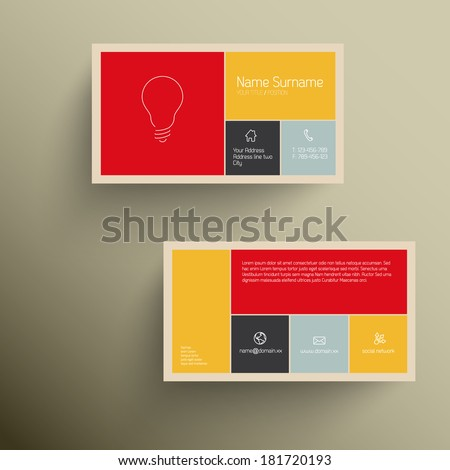Modern simple business card template with flat mobile user interface (retro colors) - stock vector