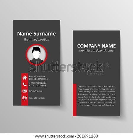Modern simple business card vector template. - stock vector