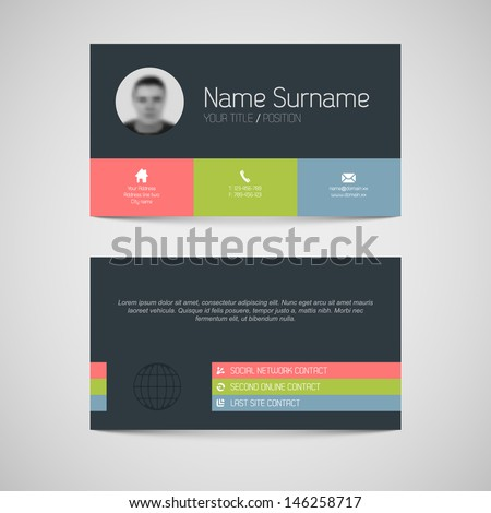 Modern simple dark business card template with flat user interface - stock vector