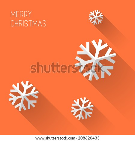 Modern simple minimalistic christmas card with flat design - stock vector